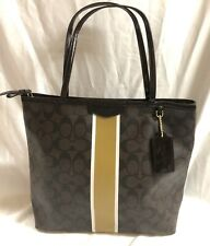 Coach F32857 Signature Metallic Stripe Medium  Brown / Gold Pvc Tote
