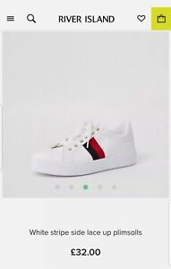 Ladies River Island White Side Stripe Lace Up Plimsolls New with Tags UK size 5