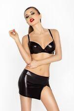 Wet Look Fetishwear Outfit Black Clubwear Bra Top Micro Mini Skirt SIze 8-10 NEW
