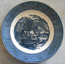 """PAIR CURRIER IVES PLATES ROYAL CHINA JEANETTE OLD GRIST MILL 10"""" ROUND"""