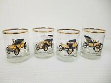 Antique Car Whiskey Glasses Gold Trim Vintage 4 Man Cave Cadillac and Turkheimer