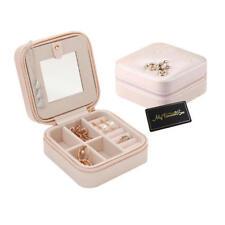 Travel Portable Jewellery box Case Storage Holder with Mirror & Zipper