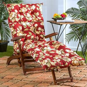 """Chaise Lounge Chair Cushion 72"""" Tufted Padded Patio Deck Pool Pillow Floral Red"""