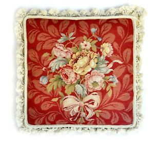 """Needlepoint Pillow   Bouquet of Roses with Ribbon Cushion Cover 16""""x16"""" Handmade"""