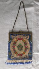 Beautiful Antique Flowery Micro Beaded Purse Bag Rose Wreath & Fringe Immaculate