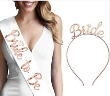 Bride To Be Set Hen Party Accessory Kit Veil Rose Gold Crown Tiara, Sashes - New