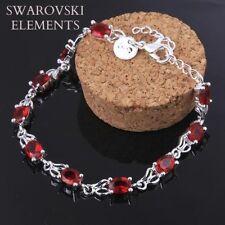 gourmette bracelet  authentiques Swarovski® Elements ROUGES argent 925 +pochette