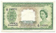 Malaya And British Borneo 5 Dollars 1953 P2 XF Queen Elizabeth Free Wwd Shipping
