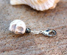 White Howlite Skull hematite Charm Silver tone Clip on charm Zipper pull new
