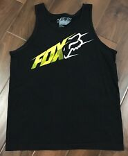 Fox Racing Mens Size M Black w Yellow & White Logo Tank Top Muscle Shirt