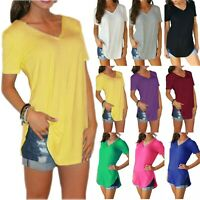 Women Solid Summer V-Neck Short Sleeve Blouse Loose Tunic T Shirt Top Casual Tee
