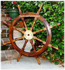"Big Nautical Wooden Ship Boat Steering Wheel Pirate Wall Decor 36"" Inch"