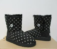 UGG BAILEY BUTTON Toddler/Kids POLKA DOT Boots BLACK/Grey Size 1 Kids US NWOB