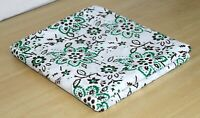 Indian Green Floral Fabric Hand Block Handmade Printed Clothes 5 Yards Crafts