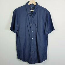 HUGO BOSS Mens Size XL Blue Rik Slim Fit S/S Shirt