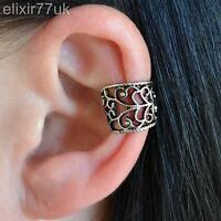 NEW GOTHIC SILVER EAR CUFF HELIX CARTILAGE CLIP ON WRAP EARRING ROCK EMO PUNK UK