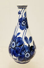 Antique Vintage Bosnian Majolica Maiolica Signed Pottery Blue and White Vase