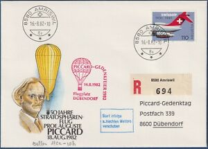 "Svizzera -16.8.1982 - Volo Startosfera  ""Piccard Gedenkfeier Dubendorf"""