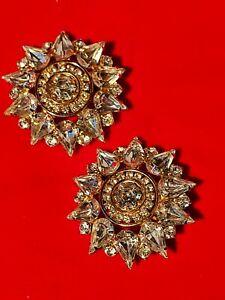 Stupendously Sparkly Large Clip On Diamanté Earrings. Fantastic Quality. Xmas