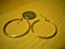Hoop Earrings Twisted Rope Pierced 14K Yellow Gold