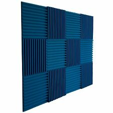 "Foamily 12 Pack Acoustic Wedge BLUE Soundproofing Panels Studio Foam 1""X12""X 12"""