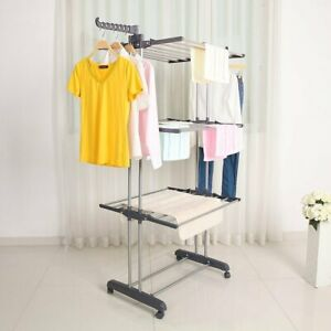Foldable Large Clothes Airer 4 Tier Indoor Outdoor Laundry Dryer Rack Line UK