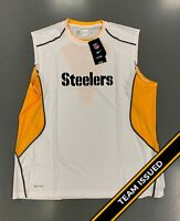 Pittsburgh Steelers Team Issued White Nike Hypercool Fitted Tank Top