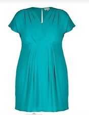 Plus Size Sleeveless V Neck Pleat Detail Jade Green MID DRESS Size 26 FREE POST