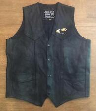 NICE HARLEY BIKER'S LEATHER LEATHER VEST SIZE 44 HONDA PINS VERY GOOD CONDITION