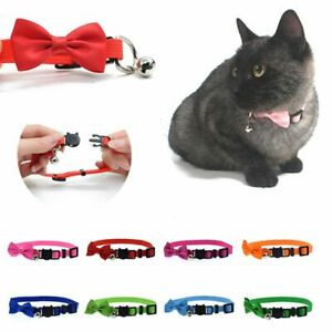 Cute Nylon Adjustable Necklace Bow Tie with Bell for Puppy Kitten Cat Collars