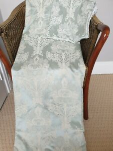 """DORMA Green Satin Damask Curtains French House Nouveau Thistle Floral 66 x 90""""D"""