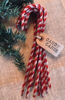 **12 tall Primitive Coffee Stained Chenille Candy Canes Christmas Ornaments lot