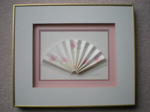 Original 1986 FAN Pink Flowers Shadow Box Frame Picture Beautiful Design Scarce