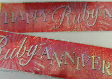 9ft Sparkly  Happy 40th Ruby Wedding Anniversary Red Party Banner Decoration