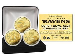 Baltimore Ravens Super Bowl XLVII / 47 Champions 24KT Gold Medallion 3 Coin Set