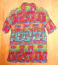 Vtg 80s 90s Funky Hawaiian Hip Hop Women's Bila Blouse Shirt S Tropical