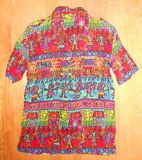 VTG 80s 90s Funky Hawaiian Hip Hop Women's BILA Blouse Shirt S Tropical