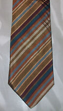 Today's Man Silk Tie Tan Brown Bronze Maroon Teal Stripe NIB t862