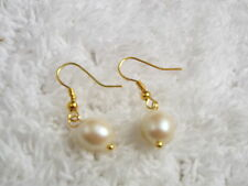 Goldtone Faux Pearl Bead Pierced Earrings (A19)