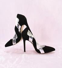 Gibellieri 3539 Black Suede / Silver Leather Pointy Pumps 37 / US 7