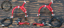 Red Old School BMX Bike MX Brake Set Lever Cable Caliper Vintage Cruiser Bicycle