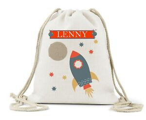 Personalised Drawstring Bag, Boys Rocket/Space. Name, Nursery, P.E Bag,Back Pack