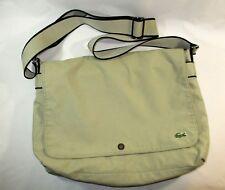 Lacoste Laptop Cross-Body Bag~Messenger Carry All~Beige Nylon Canvas~EUC!