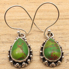 Turquoise Ancient Style Earrings Oxidized 925 Silver Plated Drop Green Copper