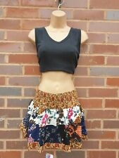 Gypsy Micro Mini Patchwork Skirt Multicolored Boho Rayon One Size 8 10 12 14 D