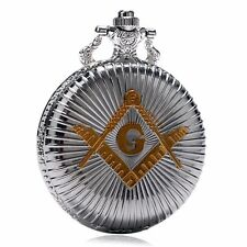 Gold -mason Symbol Necklace Chain Silver Quartz Pocket Watch Analog Gift