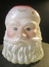 Fenton art glass Santa Claus fairy lamp light candle lamp hand painted