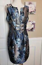 Eva Franco Dress Blue Silver Floral Metallic Print Size 8