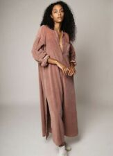 Free People Maxi Dress Duster Coat Cord Market Slouchy Button Front Pink L NEW