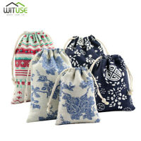 Retro Cotton Jewelry Pouch Drawstring Gift Bags Wedding Party DIY Craft 10Pcs E